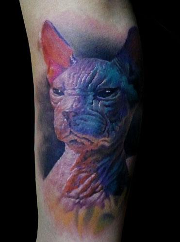 Inkonthis sphynx cat tattoo for Hairless cat tattoo